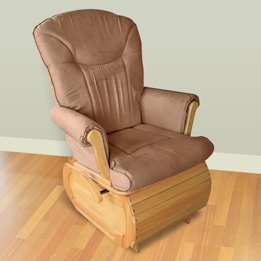 Simmons Safe & Relaxed Glider in Natural with Taupe Cushion