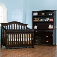 Simmons Vancouver Crib 'N' More Convertible Crib, Double Dresser & Hutch in Labrosse Cherry