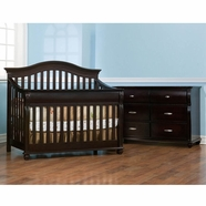 Simmons Vancouver Crib 'N' More Convertible Crib & Double Dresser in Labrosse Cherry