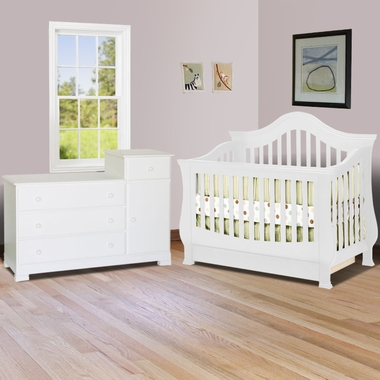 SimplyBabyFurniture Exclusive 2 Piece Nursery Set - Ashbury Convertible Crib and Kalani Combo Dresser / Changer in White - Click to enlarge