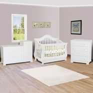SimplyBabyFurniture Exclusive 3 Piece Nursery Set - Ashbury Convertible Crib, Kalani Combo Changer and 4 Drawer Dresser in White