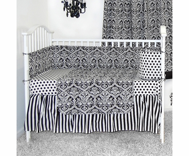 Sleeping Partners Damask Black and White 4 Piece Baby Crib Bedding Set