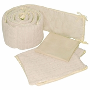 Sleeping Partners Natural Cable Knit 3 Piece Porta Crib Baby Bedding Set
