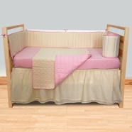 Sleeping Partners Pink Organic Waffle Weave 4 Piece Baby Crib Bedding Set