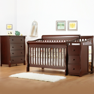 Sorelle 2 Piece Nursery Set - Tuscany Combo Crib and Dresser in Cherry - Click to enlarge