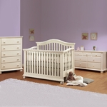 Sorelle 3 Piece Nursery Set - Vista 4 in 1 Pine Convertible Crib, Double Dresser and 5 Drawer Dresser in French White