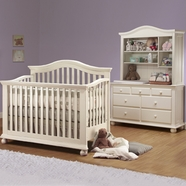 Sorelle 3 Piece Nursery Set - Vista 4 in 1 Pine Convertible Crib, Double Dresser and Hutch in French White