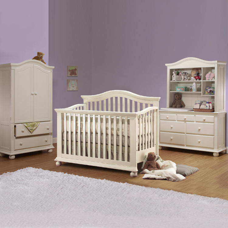 Sorelle 4 Piece Nursery Set   Vista 4 In 1 Pine Convertible Crib, Combo  Dresser/Changer, Hutch And Armoire  French White FREE SHIPPING