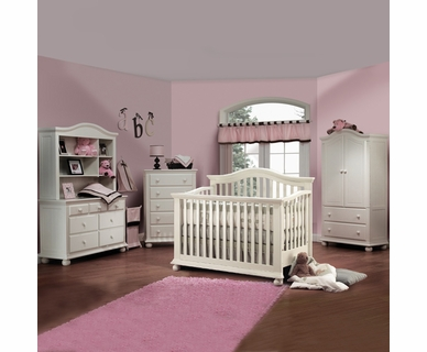 Sorelle 5 Piece Nursery Set - Vista 4 in 1 Pine Convertible Crib, Double, Hutch, 5 Drawer Dresser and Armoire in French White