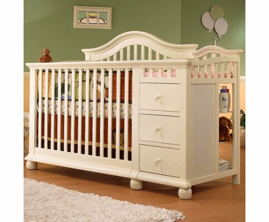 Sorelle Cape Cod Crib and Changer with Toddler Rail in French White