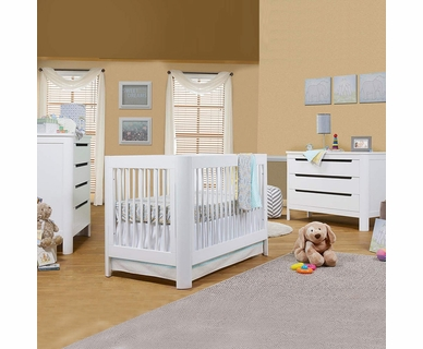 Sorelle Chandler 3 Piece Nursery Set - 4 in 1 Convertible Crib 3 Drawer and 4 Drawer Dresser in White