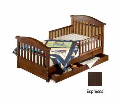Sorelle Joel Pine Toddler Bed with Underbed Drawer in Espresso