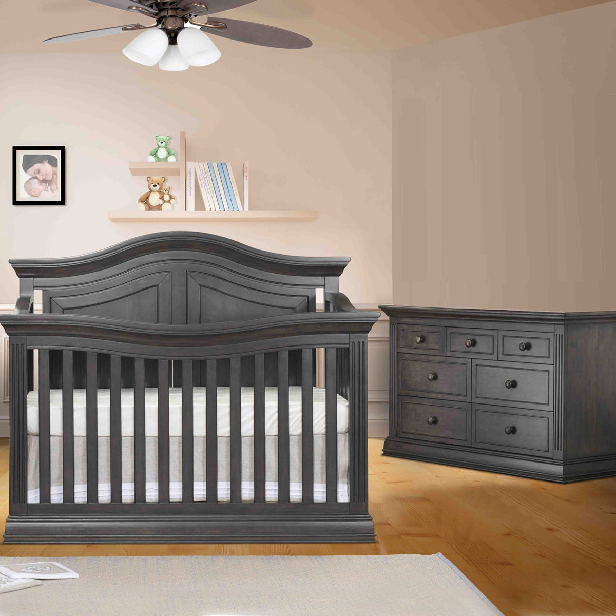 Sorelle Providence 2 Piece Nursery Set 4 In 1 Convertible Crib And Double Dresser In Vintage Gray Free Shipping