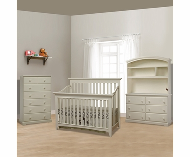 Sorelle Shaker 4 Piece Nursery Set - 4 in 1 Convertible Crib, 6 Drawer Chest, Double Dresser, and Hutch in French White