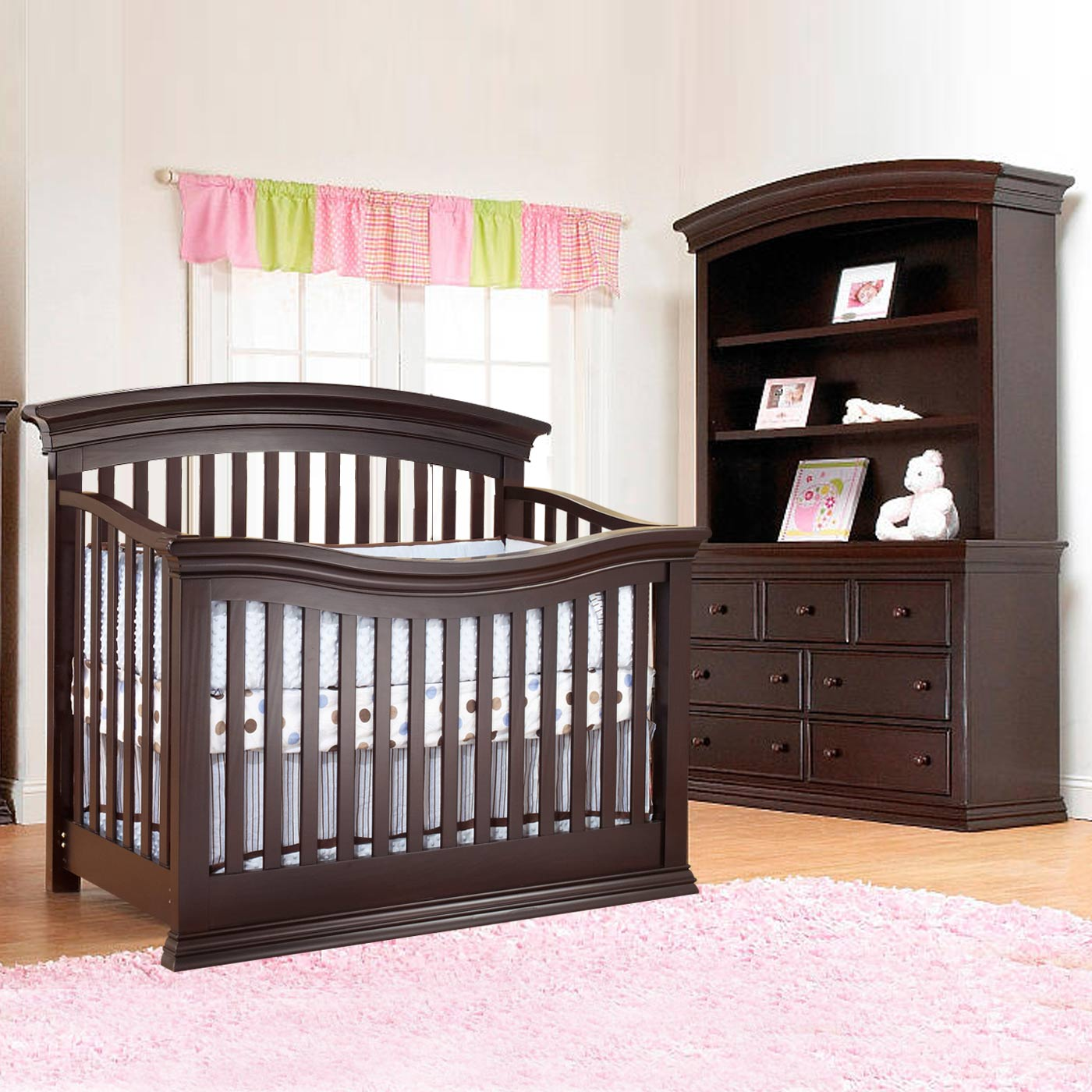 Sorelle Verona 3 Piece Nursery Set 4 In 1 Convertible Crib Double Dresser And Hutch Espresso Free
