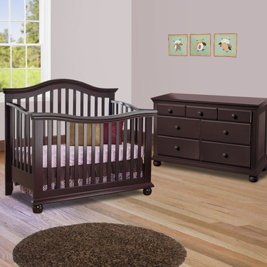 Sorelle Vista 2 Piece Nursery Set Couture Convertible Crib And Double Dresser In French White Free Shipping