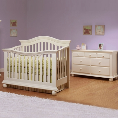 Sorelle Vista 2 Piece Nursery Set Couture Convertible Crib And Double Dresser In French White