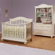 Sorelle Vista 3 Piece Nursery Set - Couture Convertible Crib, Double Dresser and Hutch in French White