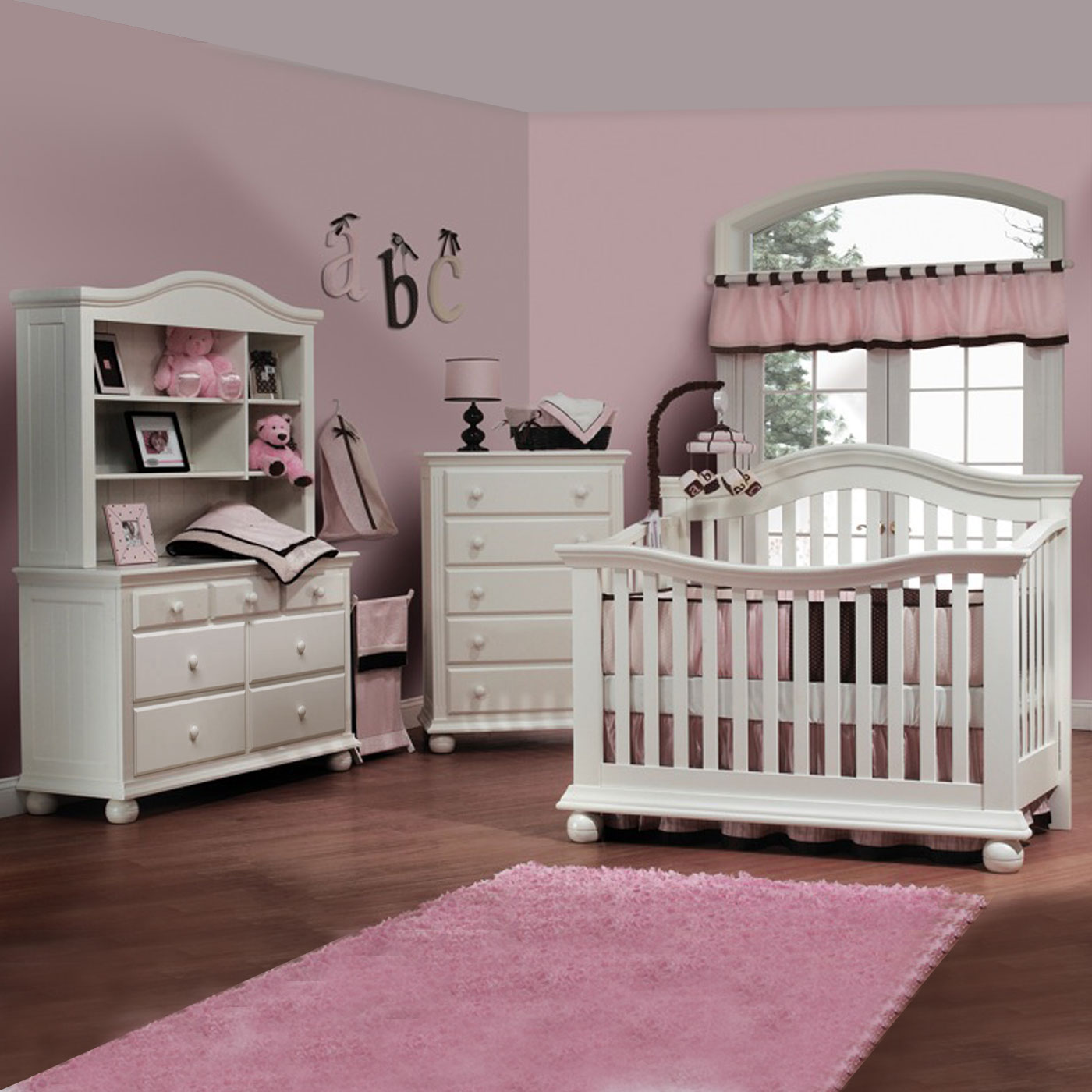Sorelle Vista 4 Piece Nursery Set   Couture Convertible Crib, Double Dresser,  Hutch And 5 Drawer Dresser In French White FREE SHIPPING