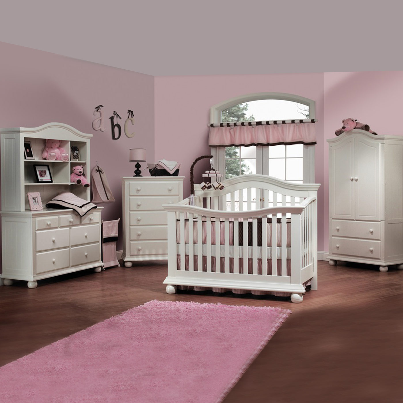 Sorelle Vista 5 Piece Nursery Set Couture Convertible Crib Double Dresser Hutch Drawer And Armoire In French White Free Shipping