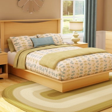 Southshore 2 Piece Bedroom Set Step One Full Headboard And Full Platform Bed In Natural Maple