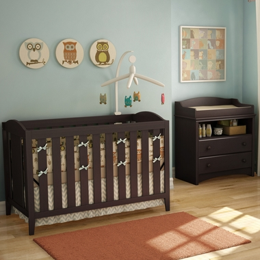 SouthShore 2 Piece Nursery Set   Angel Crib U0026 Changing Table In Espresso    Click To