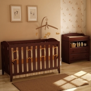 SouthShore 2 Piece Nursery Set - Sweet Morning Crib & Changing Table in Royal Cherry