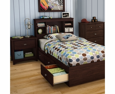 SouthShore 4 Piece Bedroom Set - Willow Twin Bookcase Headboard, Twin Mates Bed, 4 Drawer Chest and Nightstand in Havana