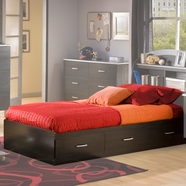 SouthShore Cosmos Collection Mates Bed Box in Charcoal & Black Onyx