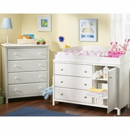 SouthShore Cotton Candy Collection 2 Piece Set - 4 Drawer Chest & Changing Table - Pure White