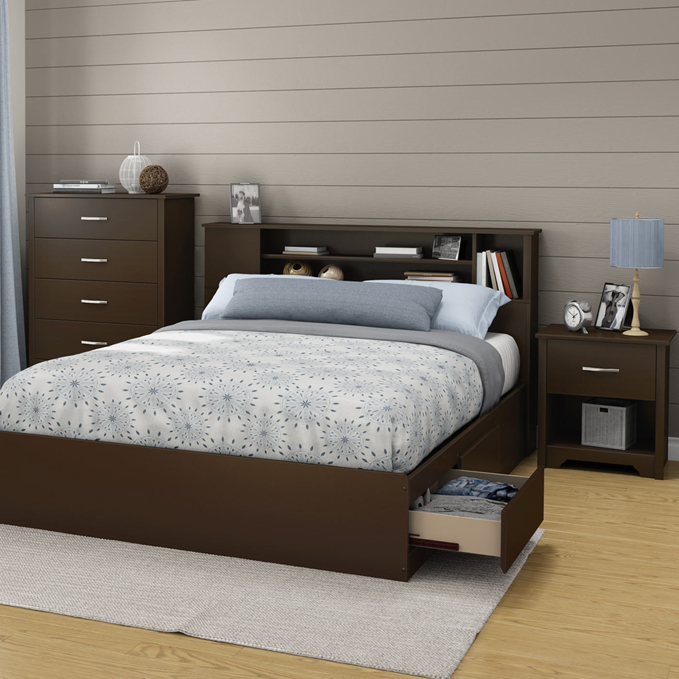 Southshore Fusion 4 Piece Bedroom Set Fusion Queen Mates Bed Bookcase Headboard 5 Drawer Chest And Nightstand In Chocolate