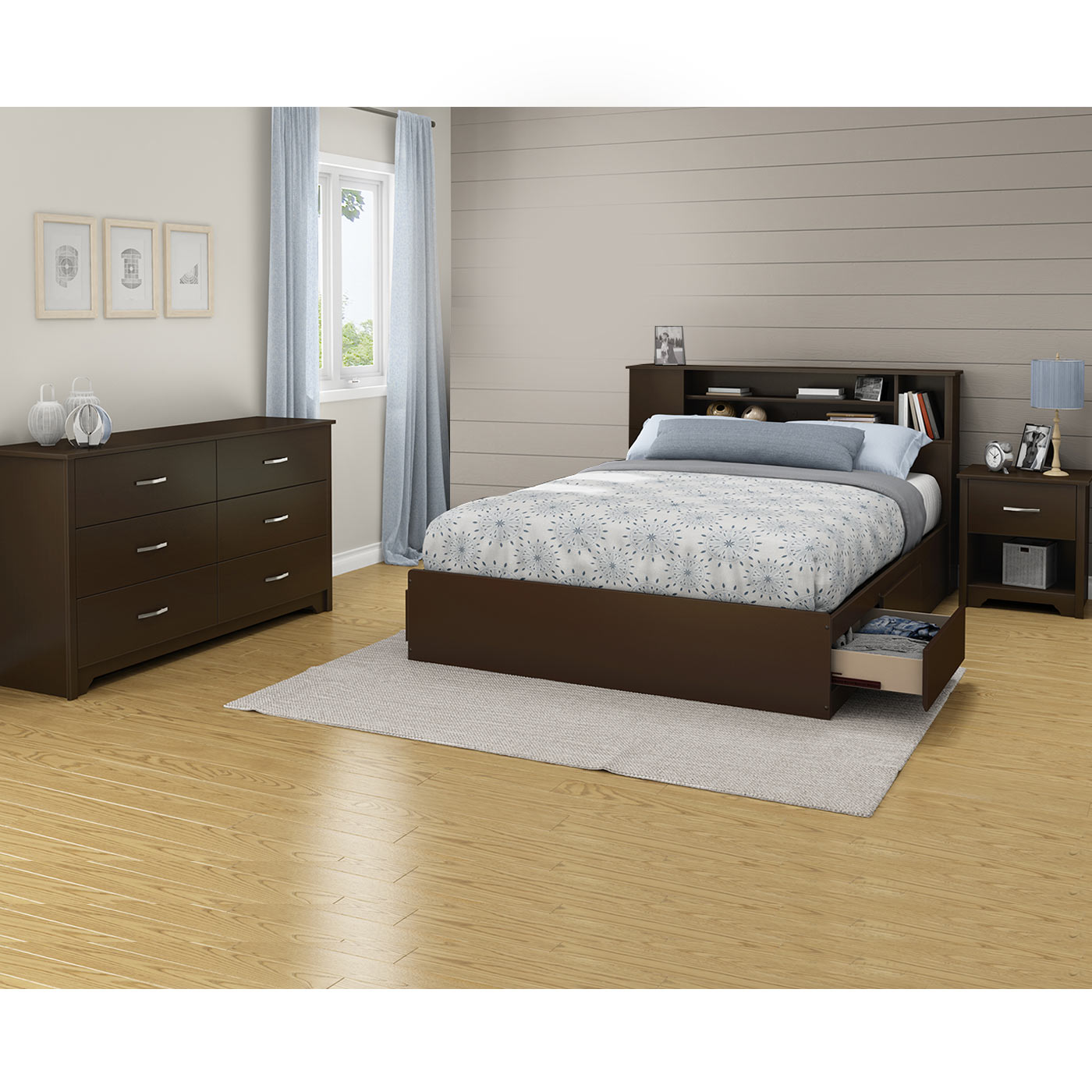 Southshore Fusion 4 Piece Bedroom Set Fusion Queen Mates Bed Bookcase Headboard Double Dresser And Nightstand In Chocolate
