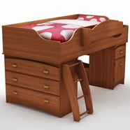 SouthShore Imagine Complete 3 Piece Loft Bed Set In Morgan Cherry