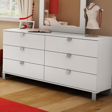 SouthShore Karma 6 Drawer Double Dresser In Pure White 3260 FREE SHIPPING