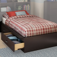 SouthShore Litchi Twin Mates Bed in Chocolate