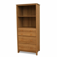 SouthShore Little Smiley Tall Dresser Shelving Unit in Harvest Maple and White