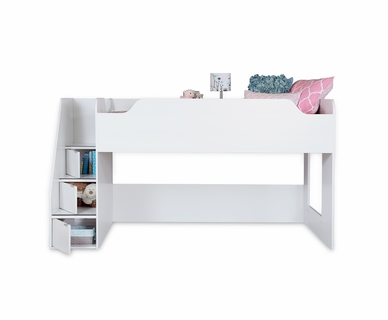 SouthShore Mobby Twin Loft Bed with Stairs in Pure White