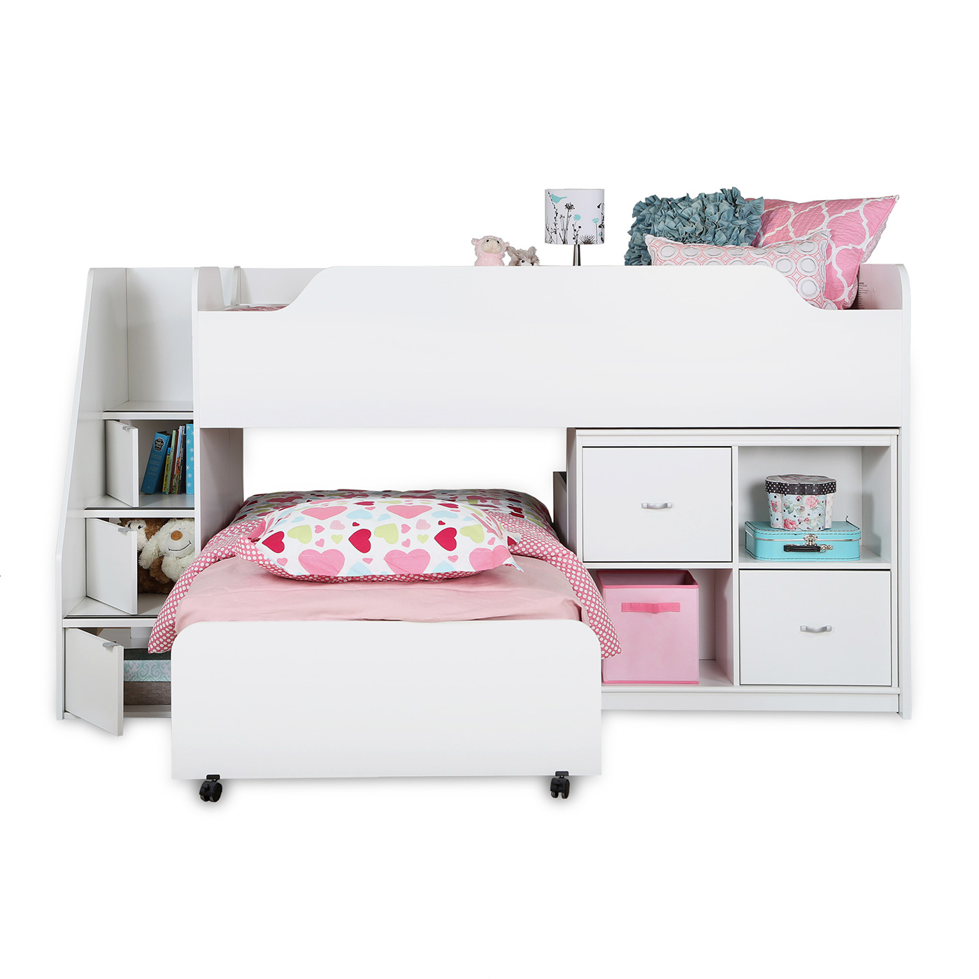 Picture of: Southshore Mobby Twin Loft Bed With Trundle And Storage Unit In Pure White Free Shipping