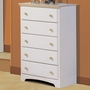 SouthShore Newbury 5 Drawer Dresser in Pure White / Maple