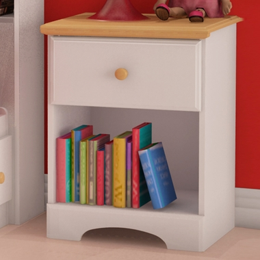 SouthShore Newbury Collection Night Stand - Pure White / Maple