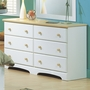SouthShore Newbury Double Dresser in Pure White / Maple
