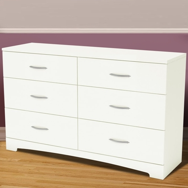SouthShore Step One 6 Drawer Double Dresser In Pure White 3160 FREE SHIPPING