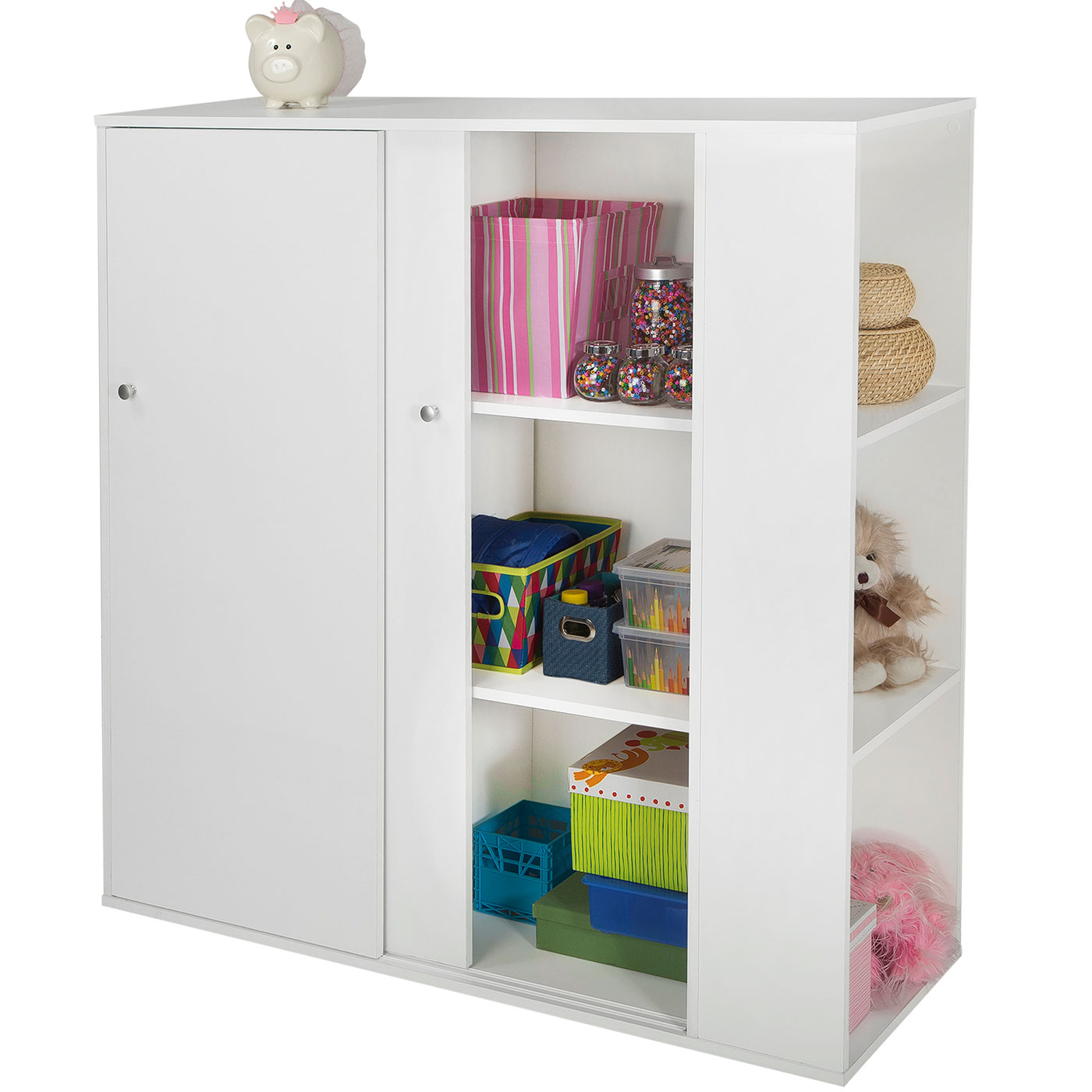 Southshore Storit Kids Storage Cabinet With Sliding Doors In Pure