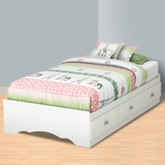 SouthShore Tiara Transitional Twin Mates Bed  in Pure White