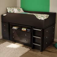 SouthShore Tree House Complete Loft Bed System - Loft Bed With Ladder, Storage Unit And Chest In Chocolate
