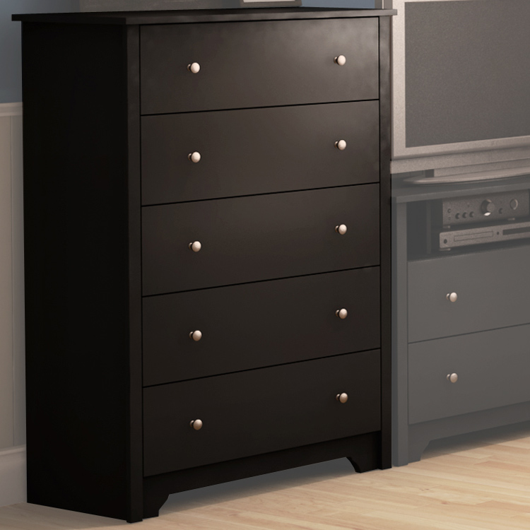 Southshore Fusion 5 Drawer Chest In Solid Black 3170 Free Shipping