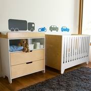Spot On Square 3 Piece Nursery Set - Hiya 3 in 1 Convertible Crib, Dresser and Changing Tray in Birch