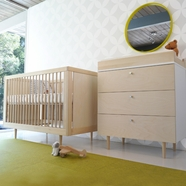 Spot On Square 3 Piece Nursery Set - Ulm Convertible Crib, Dresser and Changing Tray in Birch