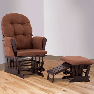 Status Roma Glider and Nursing Ottoman in Espresso and Chocolate - Click to enlarge