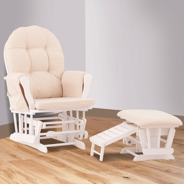 Status Roma Glider And Nursing Ottoman In White And Beige